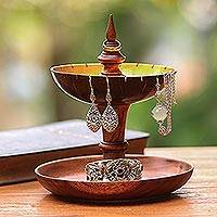 Wood and coconut shell jewelry stand, 'Golden Fountain' - Suar Wood and Coconut Shell Jewelry Stand from Bali