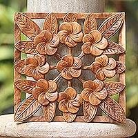 Wood relief panel, 'Interconnected Jepun' - Frangipani Flower Suar Wood Relief Panel from Bali