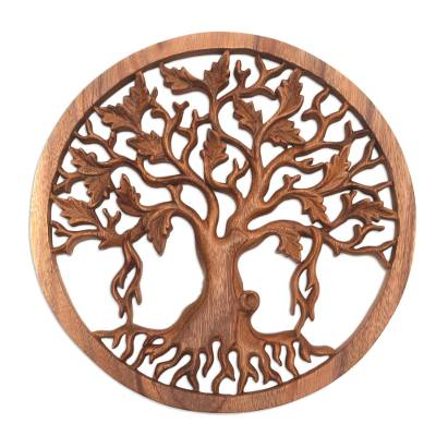 Wood relief panel, 'Giant Tree' - Hand-Carved Suar Wood Tree Relief Panel from Bali