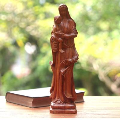Wood sculpture, 'Mary's Love' - Wood Mary and Jesus Sculpture from Indonesia