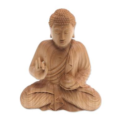 Wood sculpture, 'Buddha's Vessel' - Hand-Carved Wood Sculpture of Buddha Holding a Vessel