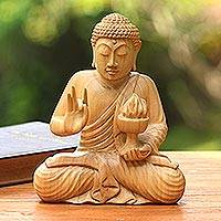 Wood sculpture, 'Buddha's Fire' - Hand-Carved Wood Sculpture of Buddha Holding Fire