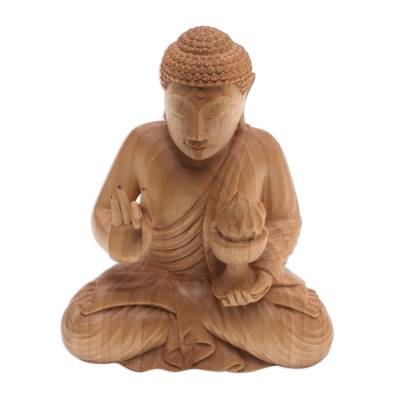 Hand-Carved Wood Sculpture of Buddha Holding Fire