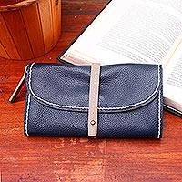 Leather clutch, 'Solid Elegance in Navy' - Handmade Leather Clutch in Solid Navy from Bali