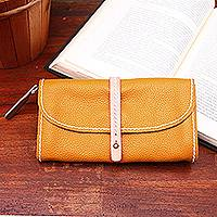 Leather clutch, 'Solid Elegance in Honey' - Handmade Leather Clutch in Solid Honey from Bali