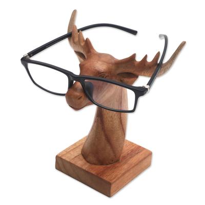 Wood eyeglasses holder, 'Studious Deer' - Jempinis Wood Deer Eyeglasses Holder from Bali