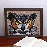'Clever Owl' - Signed Painting of an Owl from Bali