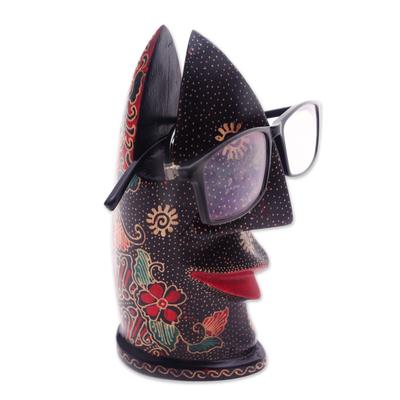 Batik wood eyeglasses holder, 'Batik Nose' - Hand-Painted Batik Wood Eyeglasses Holder from Java