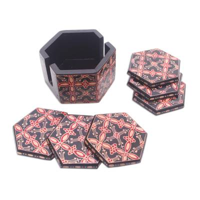 Truntum Motif Batik Wood Coasters from Java (Set of 6)