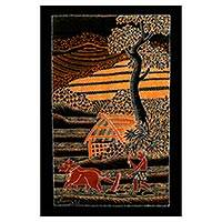 Batik cotton wall hanging, 'Plowing the Rice Field' - Batik Cotton Wall Hanging of a Man Plowing a Rice Paddy