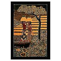 Batik cotton wall hanging, 'Two Women' - Batik Cotton Wall hanging of Two Women Rice Farmers