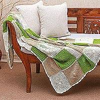 Cotton throw, 'Square Petals' - Square Pattern Crocheted Cotton Throw Blanket