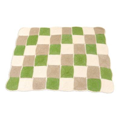 Square Pattern Crocheted Cotton Throw Blanket