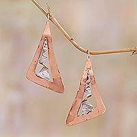 Sterling silver and copper drop earrings, 'Modern Vision' - Modern Copper and Sterling Silver Drop Earrings from Bali