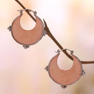 Rose gold plated copper and sterling silver hoop earrings, 'Caretaker of Beauty' - 18k Rose Gold Plated Copper and Sterling Silver Earrings