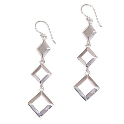 Diamond Motif Sterling Silver Dangle Earrings from Bali