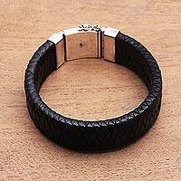 Men's leather braided wristband bracelet, 'Bold and Black' - Men's Leather Braided Wristband Bracelet from Bali