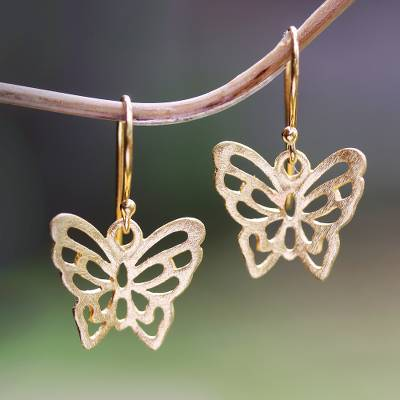 Gold plated sterling silver dangle earrings, 'Butterfly Gold' - 18k Gold Plated Sterling Silver Butterfly Dangle Earrings