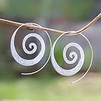 Sterling silver half-hoop earrings, 'Spiral Loop' - Spiral-Shaped Sterling Silver Half-Hoop Earrings from Bali