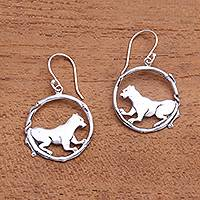 Sterling silver dangle earrings, 'Tiger Inside' - Tiger-Themed Sterling Silver Dangle Earrings from Bali