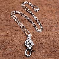 Men's sterling silver pendant necklace, 'Mighty Cobra' - Men's Sterling Silver Cobra Snake Pendant Necklace from Bali