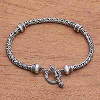 Sterling silver chain bracelet, 'Snake Scales' - Sterling Silver Naga Chain Bracelet from Bali