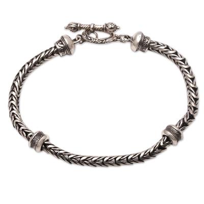 Sterling silver chain bracelet, 'Snake Scales' - Sterling Silver Naga Chain Bracelet from Bali