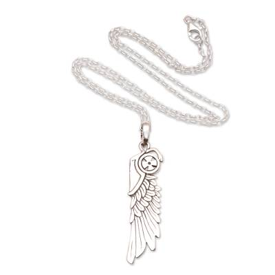 Men's sterling silver pendant necklace, 'Wing of Wisdom' - Men's Sterling Silver Wing Pendant Necklace from Bali