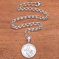 Men's sterling silver pendant necklace, 'Kokoro Coin'