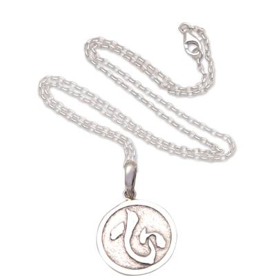 Men's sterling silver pendant necklace, 'Kokoro Coin' - Japanese Symbol Men's Sterling Silver Pendant Necklace