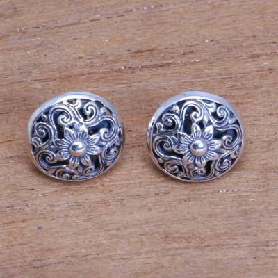 Sterling silver button earrings, 'Traditional Garden' - Openwork Floral Sterling Silver Button Earrings from Bali