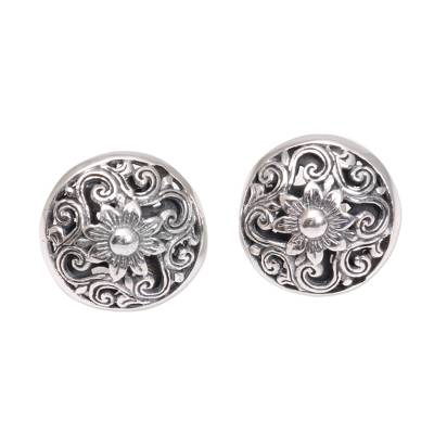 Openwork Floral Sterling Silver Button Earrings from Bali