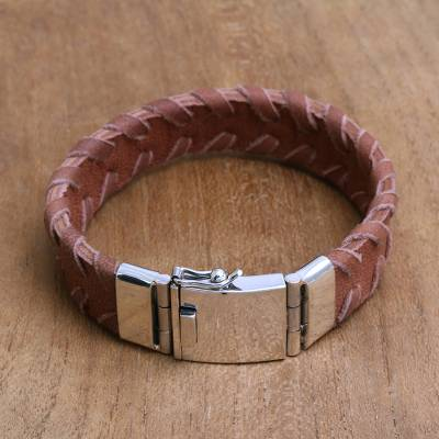 Mens leather wristband bracelet, Bali Pattern in Brown