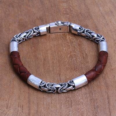 Mens sterling silver and leather bracelet, Strong Bond in Brown