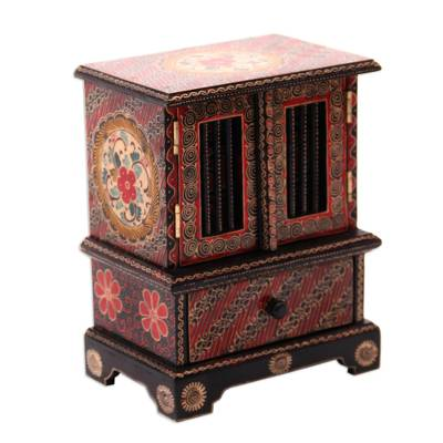 Batik wood jewelry chest, 'Parang Flowers' - Floral Batik Wood Jewelry Chest from Java