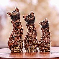 Batik wood sculptures, 'Cat Family' (set of 3) - Floral Batik Wood Cat Sculptures from Java (Set of 3)