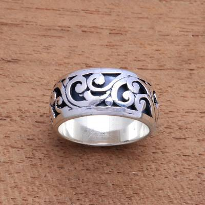 Sterling silver band ring, 'Ancient Vine' - Vine Pattern Sterling Silver Band Ring from Bali
