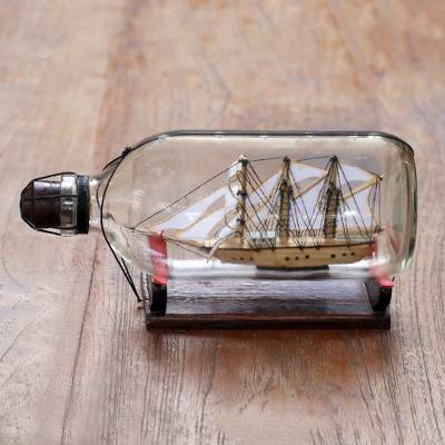 Recycled glass and wood decorative accent, 'Ship in a Bottle' - Recycled Glass and Wood Ship in a Bottle Decorative Accent
