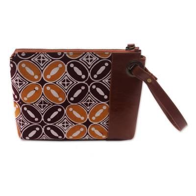 Kawung Motif Leather Accented Batik Cotton Wristlet