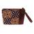 Leather accented batik cotton wristlet, 'Marvelous Kawung' - Kawung Motif Leather Accented Batik Cotton Wristlet (image 2a) thumbail