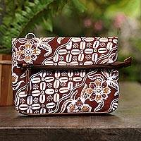 Leather accented batik cotton sling, 'Beautiful Kembang' - Kawung Motif Leather Accented Batik Cotton Sling from Bali