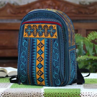 Cotton backpack, 'Teal Sultanate' - Embroidered Cotton Backpack in Teal and Saffron