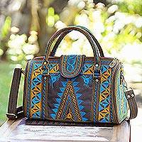 Cotton handle handbag, 'Banda Bay' - Embroidered Cotton Handle Handbag in Saffron and Teal