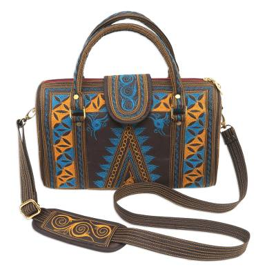 Embroidered Cotton Handle Handbag in Saffron and Teal