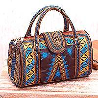 Cotton handbag, 'Banda Bay' - Embroidered Cotton Handbag in Saffron and Teal