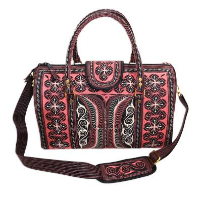 Embroidered Cotton Handbag in Carnation and Ivory (14.5 in.)