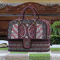 Cotton travel bag, 'Carnation Crescents' - Embroidered Cotton Travel Bag in Carnation and Ivory