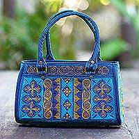 Cotton handle handbag, 'Teal Sultanate' - Embroidered Cotton Handle Handbag in Teal and Saffron