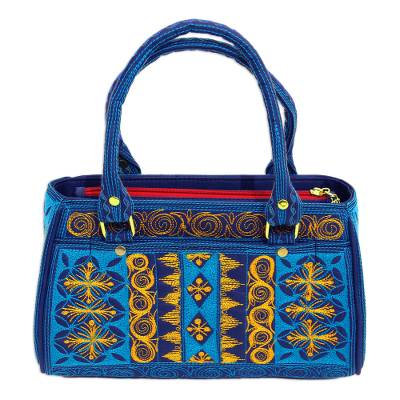 Embroidered Cotton Handle Handbag in Teal and Saffron