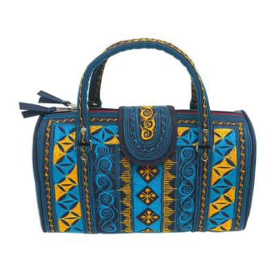 Embroidered Cotton Handbag in Teal and Saffron (11.5 in.)